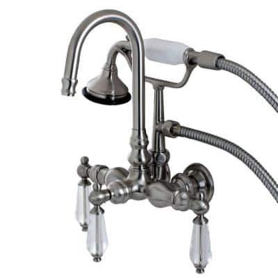 Crystal 3-Handle Claw Foot Tub Faucet with Hand Shower in Brushed Nickel