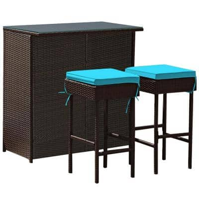 3-Piece Wicker Outdoor Dining Set with Turquoise Cushion Patio Rattan Wicker Bar Table Stools