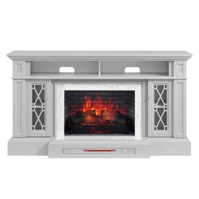 Parkbridge 68 in. Freestanding Electric Fireplace TV Stand in Light Gray with KD Insert