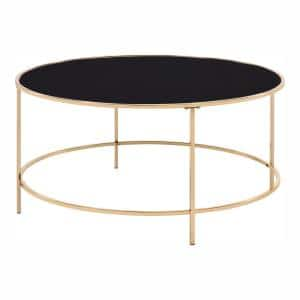 Skyes 36 in. Gold Plating Round Glass Top Coffee Table