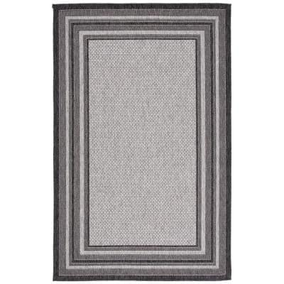 Courtyard Light Gray/Black 9 ft. x 12 ft. Solid Striped Indoor/Outdoor Area Rug