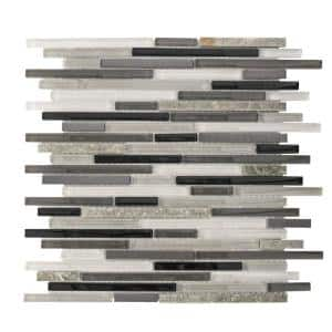 Zen Lace Grey 11.75 in. x 13 in. x 8 mm Interlocking Textured Glass/Stone/Metal Mosaic Tile