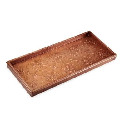30 in. x 13 in. Medallions Boot Tray in Copper Finish for Boots, Shoes, Plants, Pet Bowls, and More