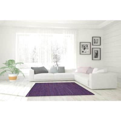 Leather Purple 3 ft. x 3 ft. Round Area Rug