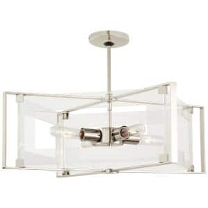 Crystal-Clear 4-Light Polished Nickel Semi-Flush Mount with Clear Acrylic