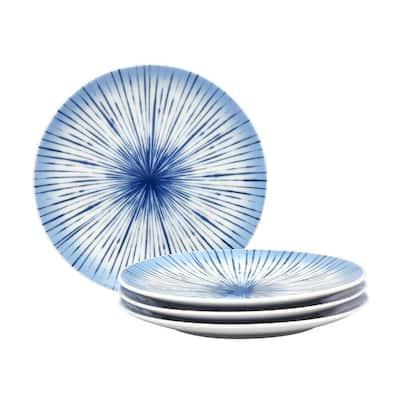 Hanabi Blue/White Porcelain Coupe Salad Plates (Set of 4) 8-1/4 in.