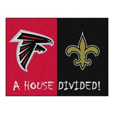 NFL Falcons/Saints Red House Divided 3 ft. x 4 ft. Area Rug