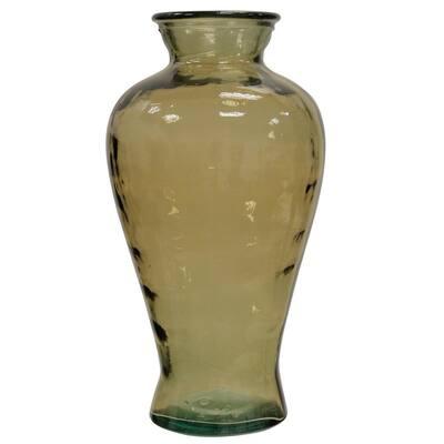 Translucent Amber Curved Glass Vase