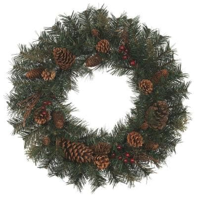 24 in Natural Pine Artificial Christmas Wreath
