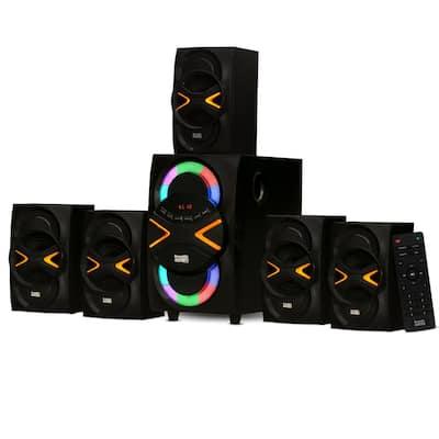 Bluetooth 5.1 Speaker System with LED Lights Home 6 Speaker Set