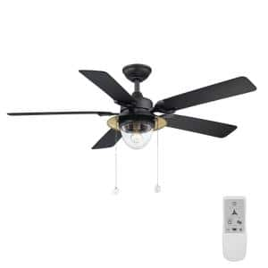Hanahan 52 in. LED Textured Black Ceiling Fan with Light Kit Works with Google Assistant and Alexa