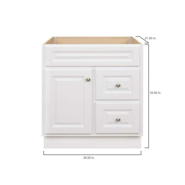 Glacier Bay Hampton 30 In W X 21 In D X 33 5 In H Bathroom Vanity Cabinet Only In White Hwh30dy The Home Depot