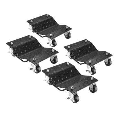 Diamond Texture Wheel Dollies - Powder Coated Solid Steel Tire Skates with 3 in. Swivel Casters (Set of 4)