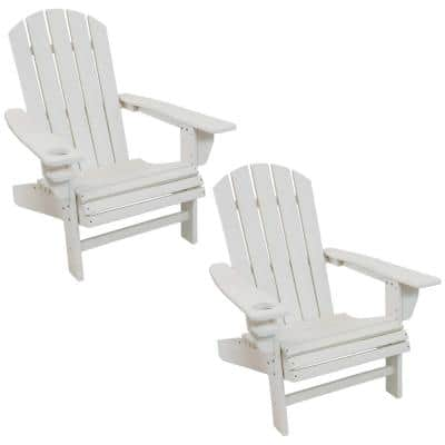 All-Weather White Plastic Adirondack Chair with Drink Holder (2-Pack)