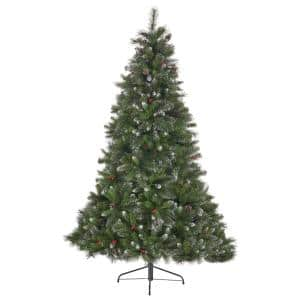 7.5 ft. Unlit Mixed Spruce Hinged Artificial Christmas Tree with Glitter Branches, Berries and Pinecones