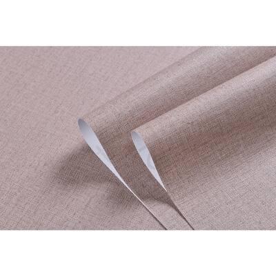 Linen Texture Vinyl Peel and Stick Wallpaper Roll, Brown, 2 ft. x 33 ft./Roll(2 Roll)