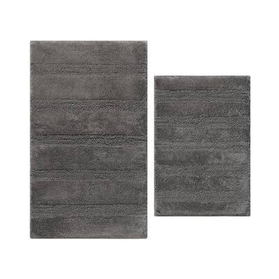 Manchester Solid Dark Gray Cotton 2-Piece Rug Set