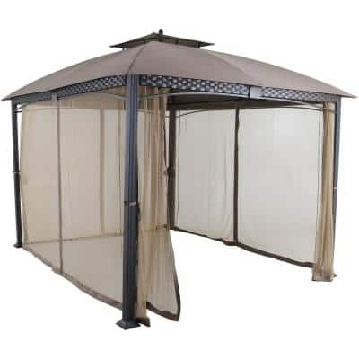 Aster Aluminum and Steel Gazebo with Mosquito Netting, Tan (9.8 ft. D x 11.8 ft. W x 9.7 ft. H)