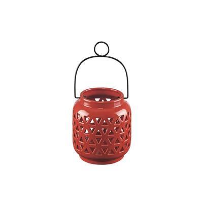 6.5 in. Ceramic Outdoor Patio Lantern in Chili Red