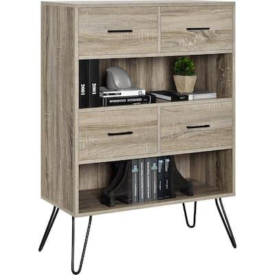 Reed Terrace 43.7 in. Sonoma Oak Wood 2-shelf Standard Bookcase with Drawers