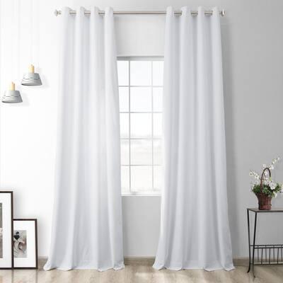 Pillow White Velvet Grommet Blackout Curtain - 50 in. W x 96 in. L