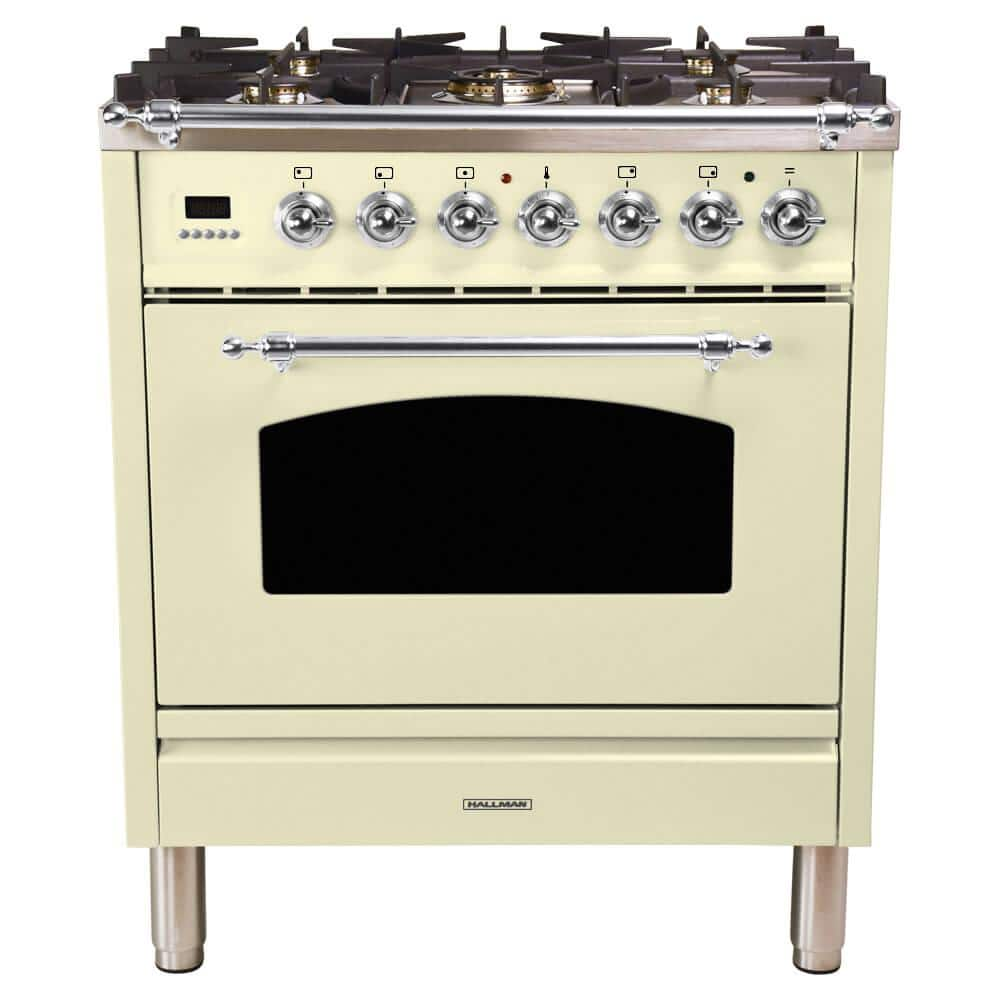 Hallman 30 In 3 0 Cu Ft Single Oven Dual Fuel Italian Range With True Convection 5 Burners Chrome Trim Antique White Hdfr30cmaw The Home Depot