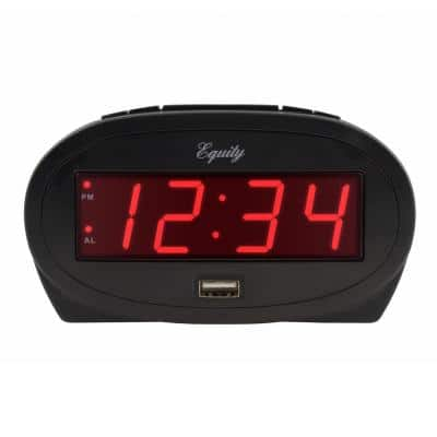 0.9 In. Red LED alarm clock with USB charge port