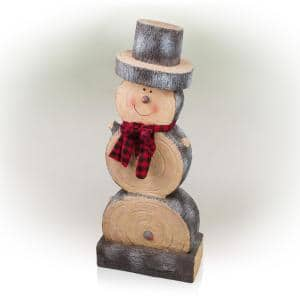 38 in. Tall Christmas Snowman Statue with Wood Texture