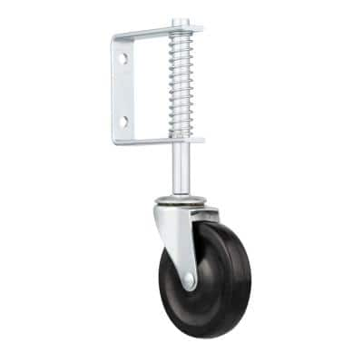 4 in. Gate Caster with Adjustable Spring Bracket and 125 lb. Load Rating