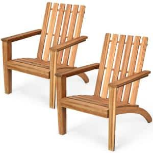 Wooden Outdoor Adirondack Chair Patio Lounge Chair with Armrest Natural (Set of 2)