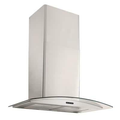 30 in. Convertible Wall Mount Curved Glass Chimney Range Hood with LED Light in Stainless Steel