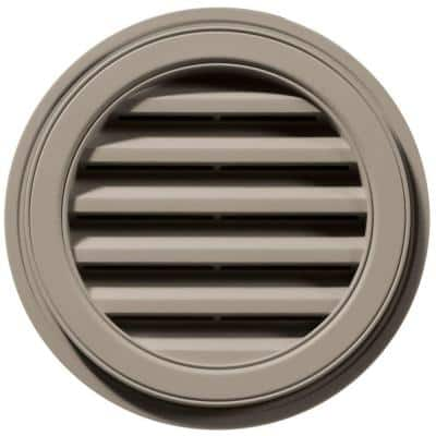 18 in. x 18 in. Round Brown/Tan Plastic Built-in Screen Gable Louver Vent