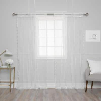 White Polka Dot Lace Rod Pocket Sheer Curtain - 52 in. W x 84 in. L (Set of 2)