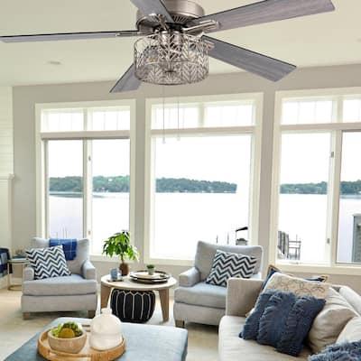 Industrial 52 in. Indoor Nickel Ceiling Fan Ceiling Fan with Light Kit