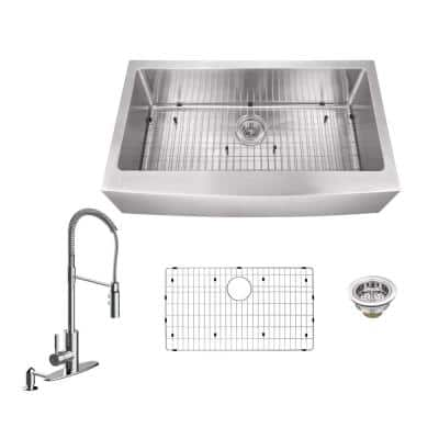 All-in-One Farmhouse Apron Front 16-Gauge Stainless Steel 33 in. 0-Hole Single Bowl Kitchen Sink with Pull Down Faucet