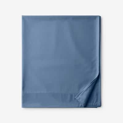 Company Cotton Bamboo Blue Horizon 300-Thread Count Sateen Queen Flat Sheet