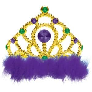 Green, Purple and Gold Plastic Mardi Gras Tiara with Marabou (5-Pack)