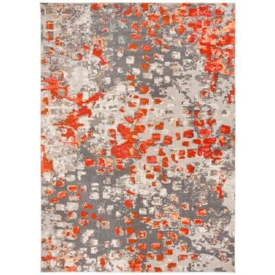 Gray Orange Area Rugs Rugs The Home Depot