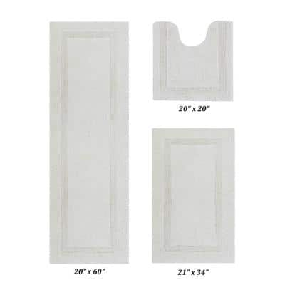 Lux Collection Ivory 20 in. x 20 in., 21 in. x 34 in., 20 in. x 60 in. 100% Cotton 3-Piece Bath Rug Set