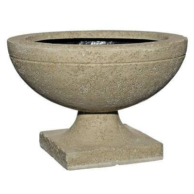 20 in. Natural Shallow Lava Stone Urn Planter