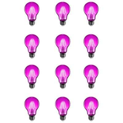 25-Watt Equivalent A19 Medium E26 Base Dimmable Filament Pink Colored LED Clear Glass Light Bulb (12-Pack)