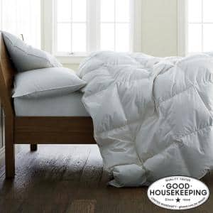 Light Warmth White King Down Comforter with Organic Cotton Cover