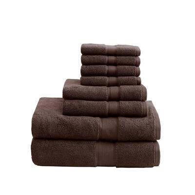 800GSM 8-Piece Brown 100% Cotton Towel Set
