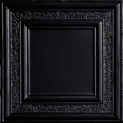 County Cork 2 ft. x 2 ft. Nail Up Tin Ceiling Tiles Surface Mount Satin Black (48 sq. ft./case)