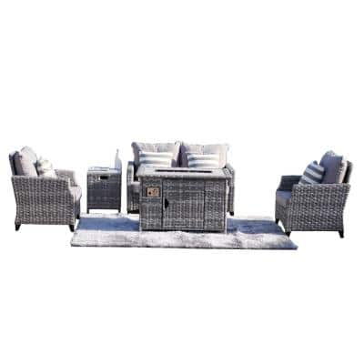 Julley Grey Frame 5-Piece Wicker Patio Conversation Set with Grey Cushions