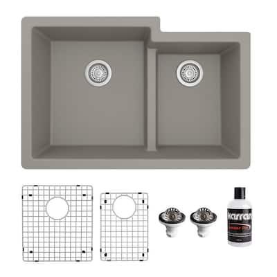 QU-811 Quartz/Granite 32 in. Double Bowl 60/40 Undermount Kitchen Sink in Concrete with Bottom Grid and Strainer