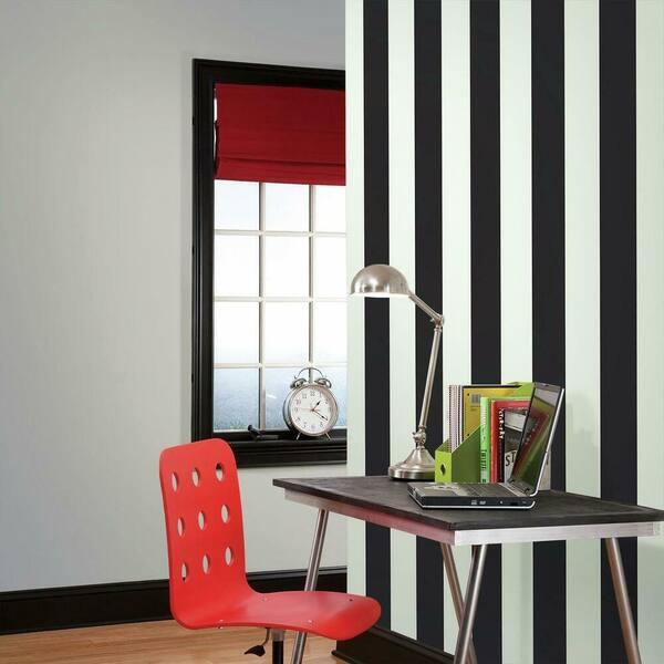 York Wallcoverings - Disney Kids Silk Stripe Wallpaper Black/White Paper Strippable Roll (Covers 56 sq. ft.)