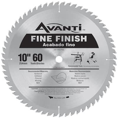 10 in. x 60-Teeth Fine Finish Saw Blade