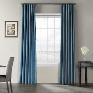 Nassau Blue Vintage Textured Faux Dupioni Silk Light Filtering Curtain - 50 in. W x 108 in. L
