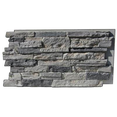 Canyon's Edge Faux Stack Stone 48-3/4 in. x 24-3/4 in. Gray Fox Class A Fire Rated Urethane Siding Panel
